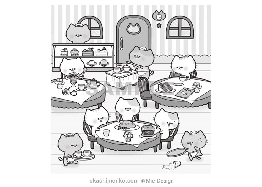 猫カフェ イラスト レストラン